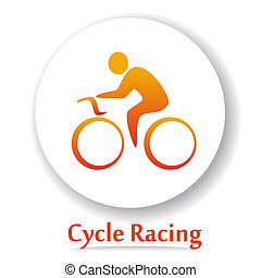 CycleRacingB - Vector icon with Bicycle race silhouette...