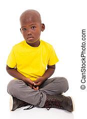 african american boy sitting - sad african american boy...
