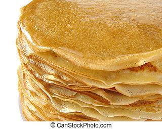 homemade pancakes pile fragment closeup...