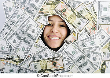 money - happy young business woman isolated on white playing...