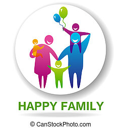 FamilySign - Happy family icon multicolored in simple...