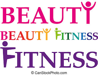 fitness_beauty - words fitness and beauty with signs