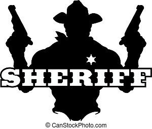 sheriff silhouette - silhouette of a cowboy sheriff holding...