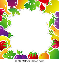 FrameFruitsVegetables - Frame made of fruits and vegetables:...