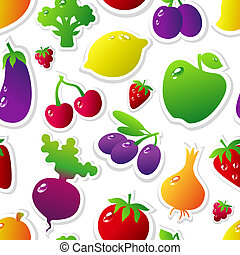 FVBackground - Seamless pattern with fruits and vegetables...