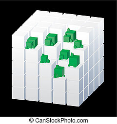 Abstract cubes isolated on the black background with green parts, vector illustration