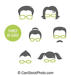 Family Of Geeks, various people in glasses, vector...