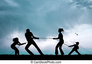 tug of war at sunset - illustration of tug of war at sunset