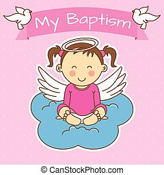 girl baptism - Angel wings on a cloud. girl baptism