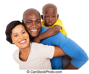 young african couple with their child - cheerful young...