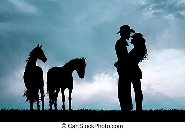 couple and horses at sunset - illustration of couple and...