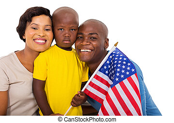 afro american family with usa flag isolated on white...