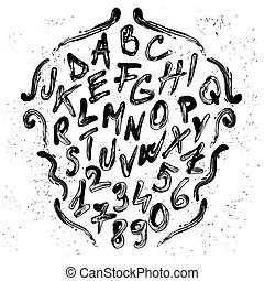 Font - Smudged brush vector alphabet with numbers Each...