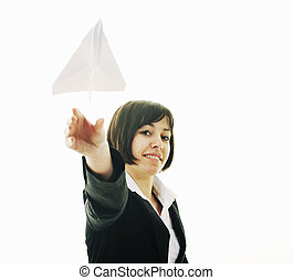 business woman throwing paper airplane - happy young...