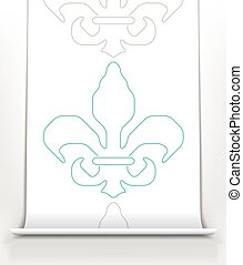 Fleur de lis on white paper scroll
