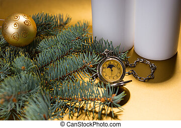 Antique Pocket Watch with Evergreen Branch - Close Up...