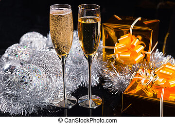 Celebrating Christmas with champagne