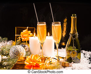 Festive Christmas still life with champagne - Festive...
