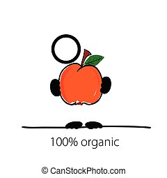 man with peach in hand vector