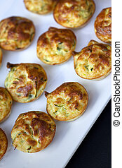 Small Quiche lorraine - Quiche Lorraine with herbs on a...