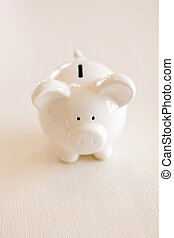 piggy bank - with piggy bank on table
