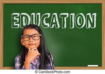 Little Asian Student Girl