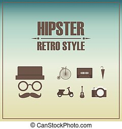 hipster icon with vintage background retro style