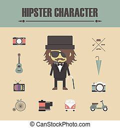 old man hipster - hipster gadget icon retro and vintage...
