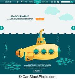 Submarine undersea. SEO website vector template