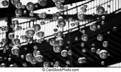 Christmas and New Year Decoration. A lot of moving balls as...