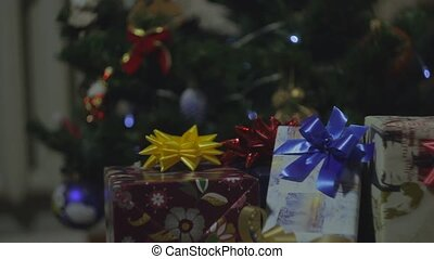 New Year Gifts and Christmass Tree