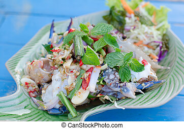 spicy salad with blue crab  - spicy salad with blue crab