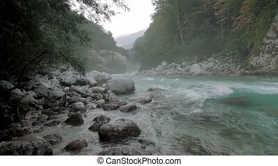 Misty river at Kamp Koren Kobarid, Slovenia