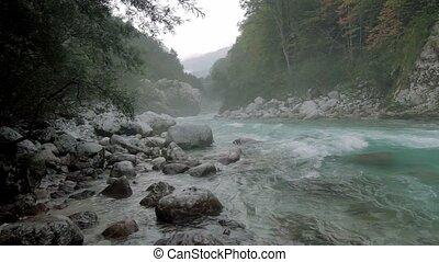 Misty river at Kamp Koren Kobarid, Slovenia