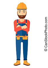 Friendly builder with arms crossed - Confident hipster...