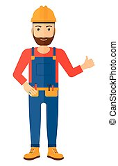 Builder showing thumbs up - A smiling young hipster builder...