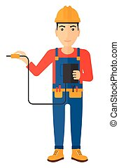 Electrician with electrical equipment. - An electrician in...
