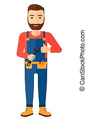 Cheerful repairman with spanner - Cheerful repairman...