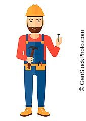 Cheerful repairman engineer - A hipster repairman in helmet...
