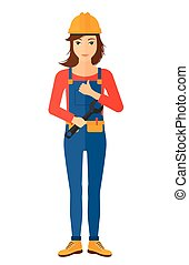 Cheerful repairer with spanner. - A female repairer engineer...