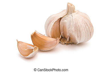 garlic isolated on white with clipping path