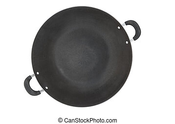 top view wok with clipping path
