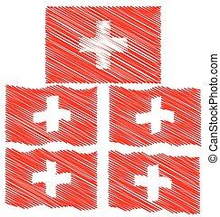 plano, Empate, Bosquejo, mano, ondulación, bandera, suiza