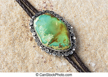 Turquoise Bolo Tie - Southwestern green turquoise silver...