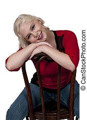 Beautiful Woman - Young Beautiful Woman sitting in a cane...