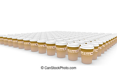Endless coffee cups - Huge amount of plastic coffee cups in...
