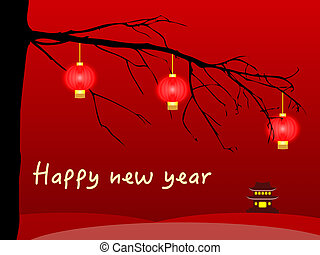 Happy chinese new year card with lanterns
