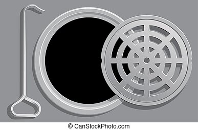 Open Manhole Cover - Vector Illustration of an Open Manhole...