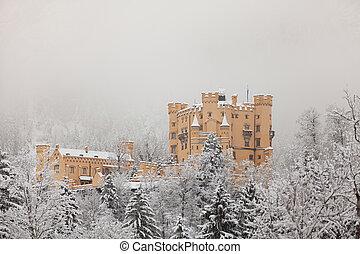 Hohenschwangau Castle in winter landscape Germany