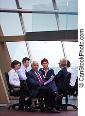 business people group on meeting at modern bright office -...